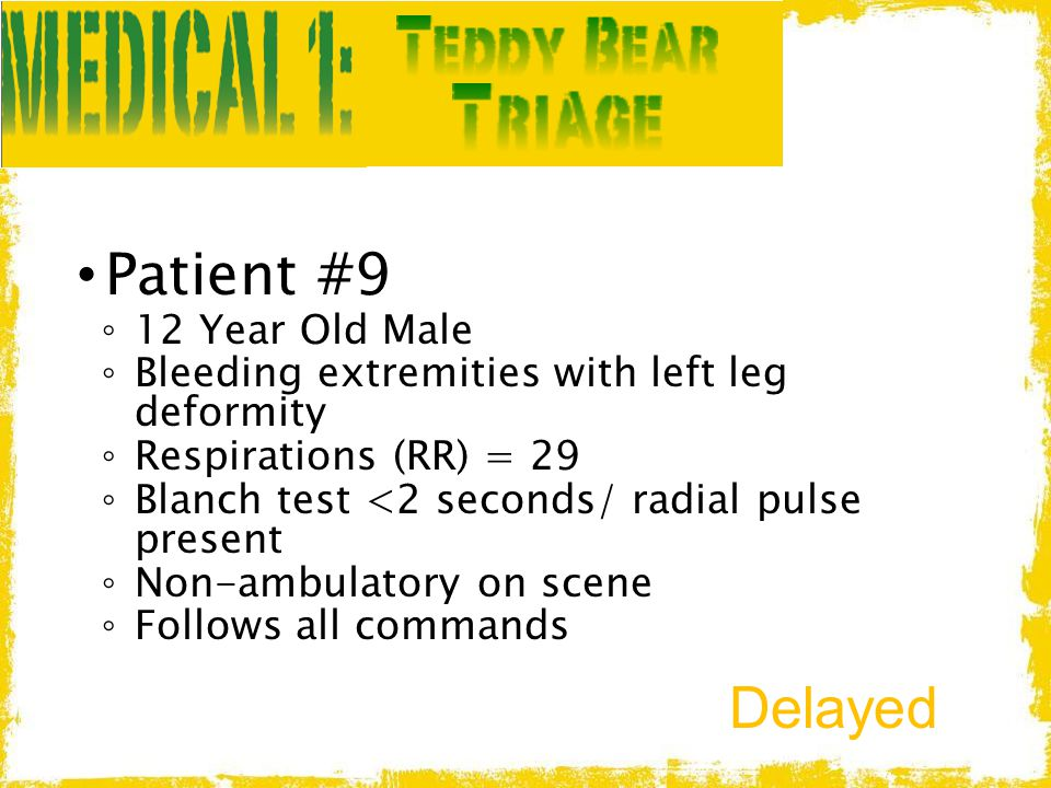 Patient #9 Delayed 12 Year Old Male
