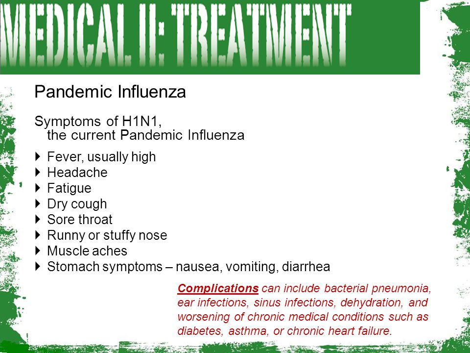 Pandemic Influenza Symptoms of H1N1, the current Pandemic Influenza