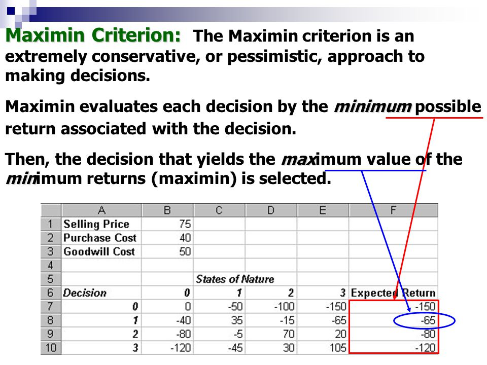 Maximin Criterion: The Maximin criterion is an extremely conservative, or pessimistic, approach to making decisions.