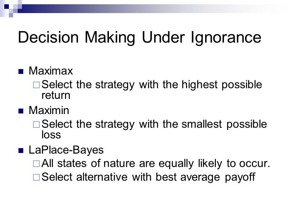 Decision Making Under Ignorance