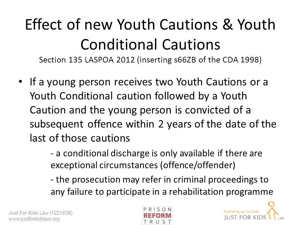 Effect of new Youth Cautions & Youth Conditional Cautions Section 135 LASPOA 2012 (inserting s66ZB of the CDA 1998)