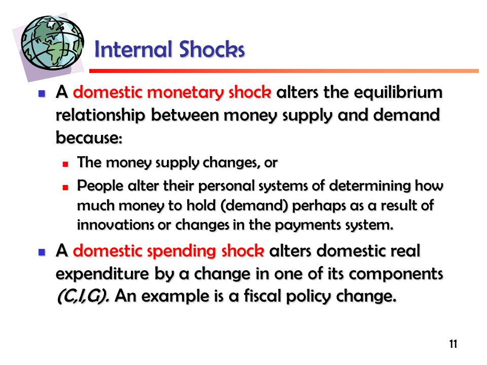 Internal Shocks A domestic monetary shock alters the equilibrium relationship between money supply and demand because: