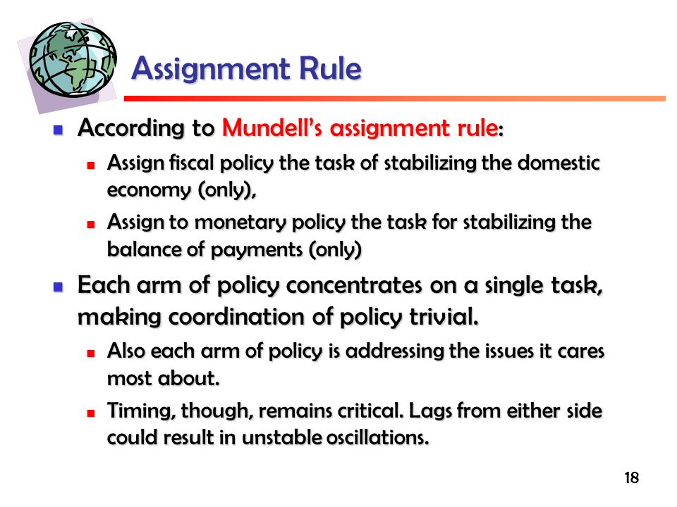 Assignment Rule According to Mundell's assignment rule: