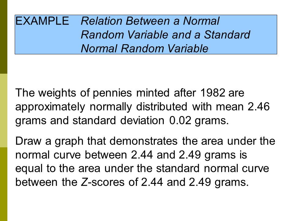 EXAMPLE. Relation Between a Normal. Random Variable and a Standard