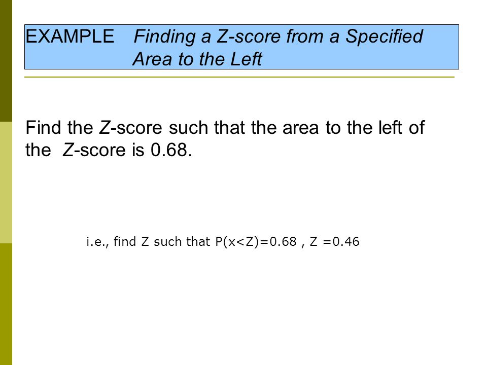 EXAMPLE Finding a Z-score from a Specified Area to the Left