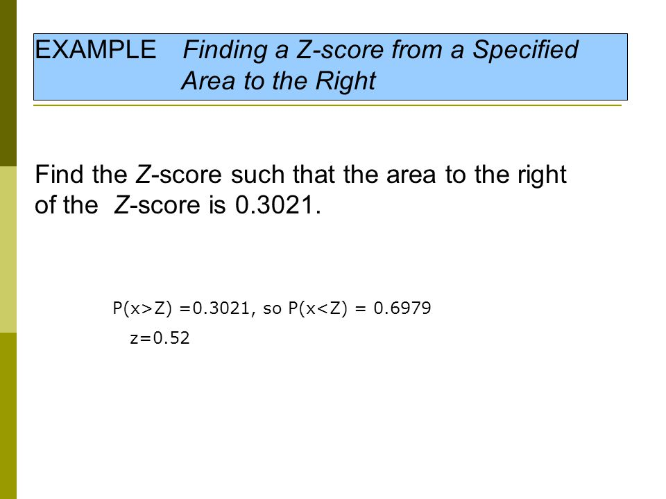 EXAMPLE Finding a Z-score from a Specified Area to the Right