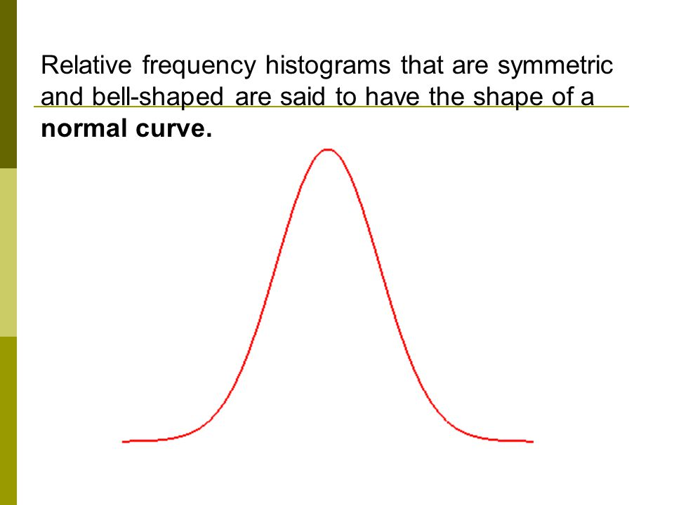 Relative frequency histograms that are symmetric and bell-shaped are said to have the shape of a normal curve.