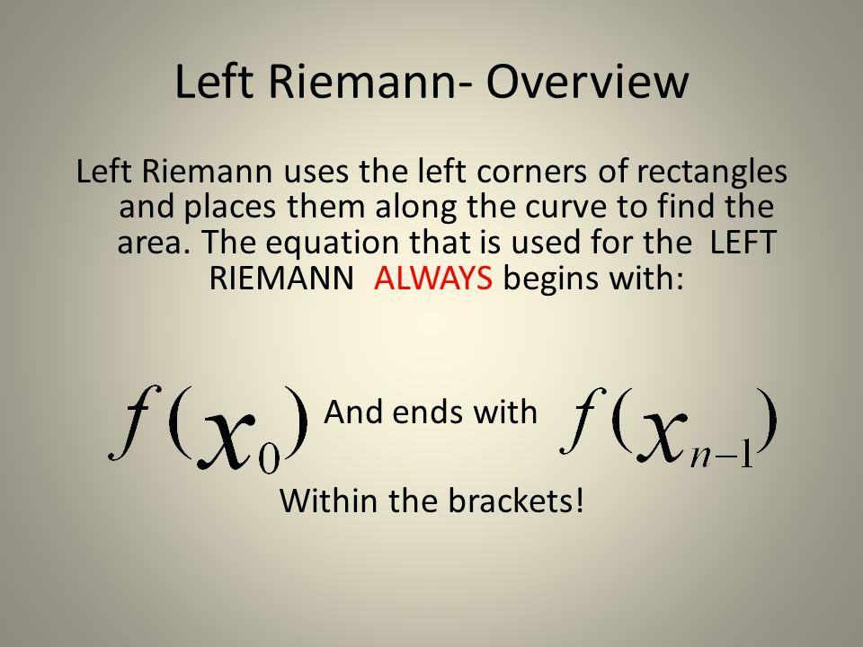 Left Riemann- Overview