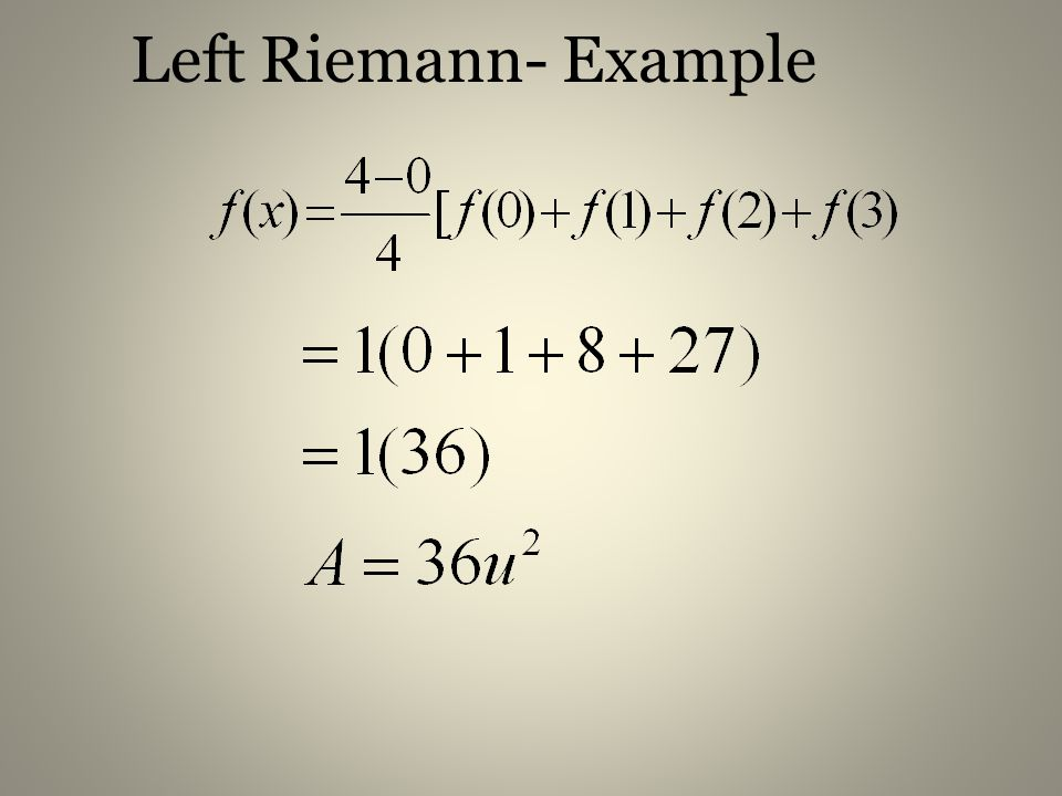 Left Riemann- Example