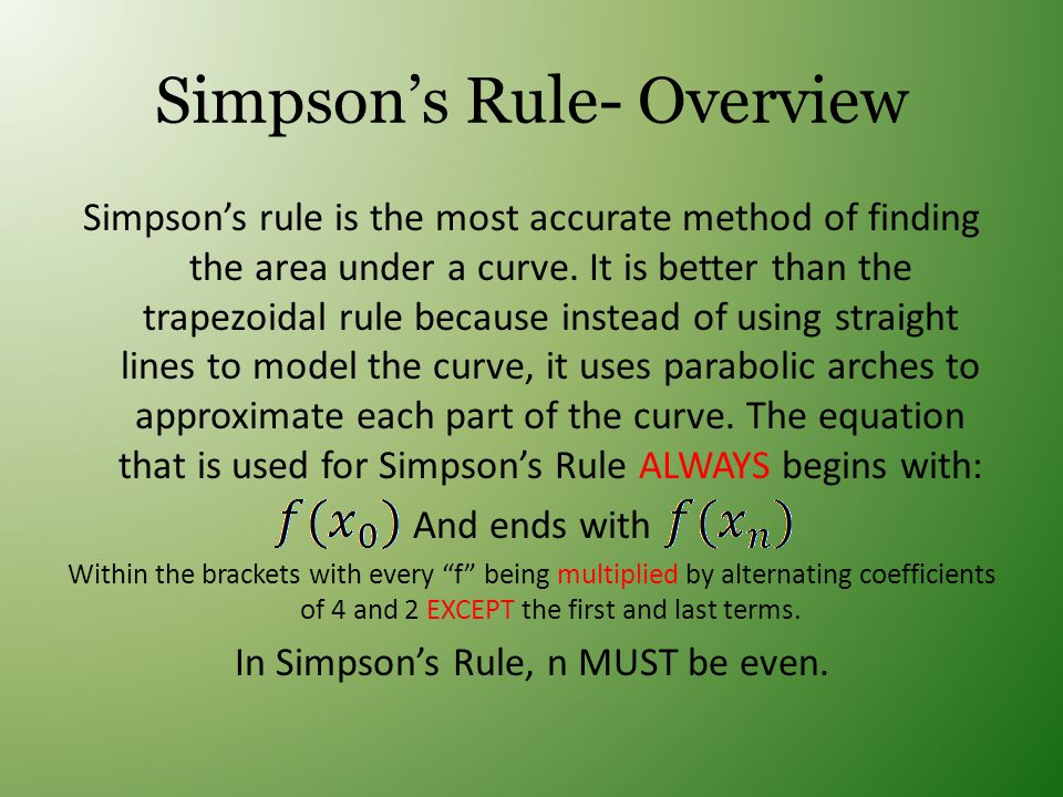 Simpson's Rule- Overview