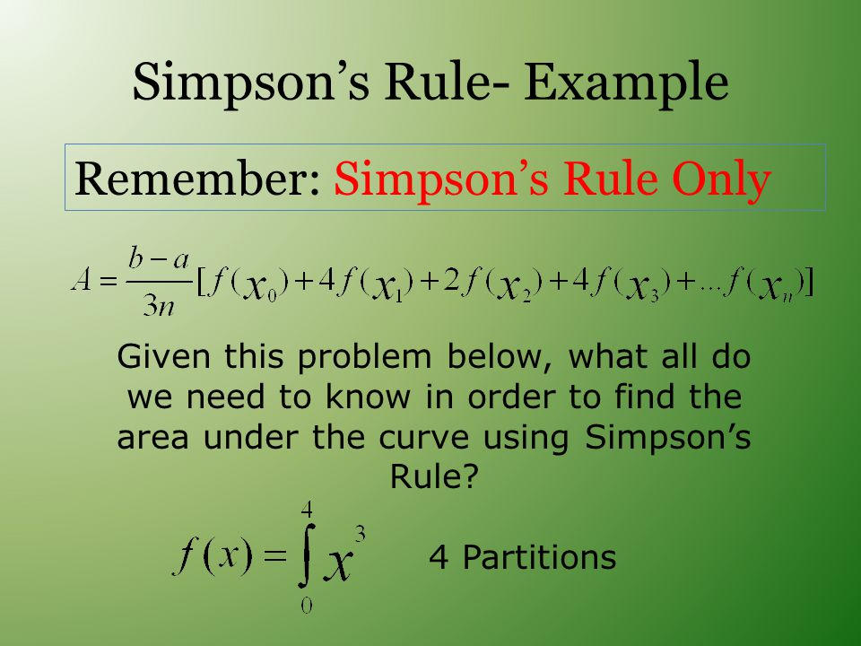 Simpson's Rule- Example