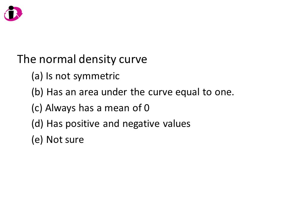 The normal density curve