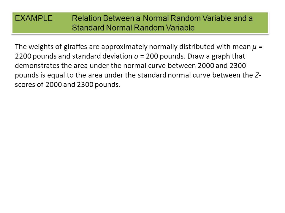EXAMPLE. Relation Between a Normal Random Variable and a