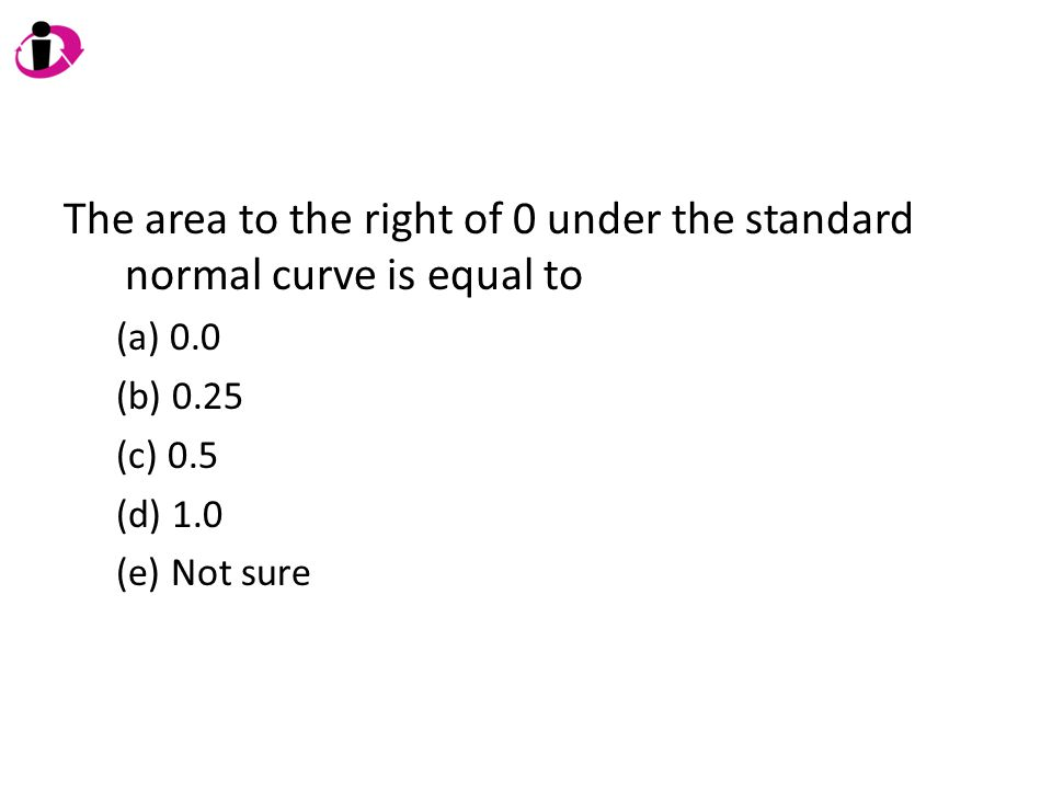 The area to the right of 0 under the standard normal curve is equal to