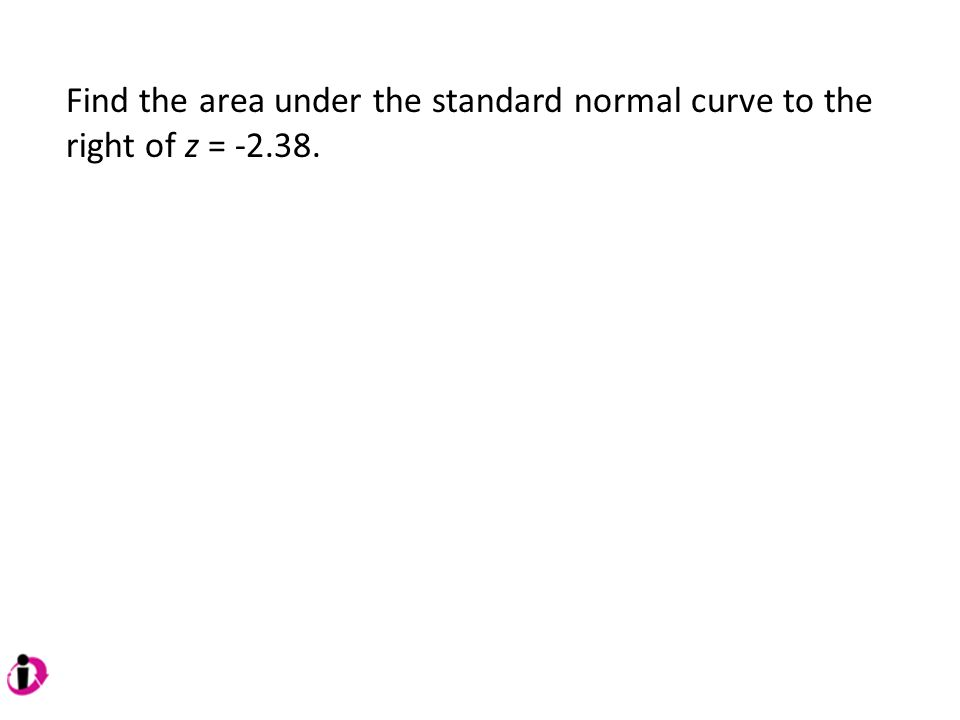 Find the area under the standard normal curve to the right of z = -2