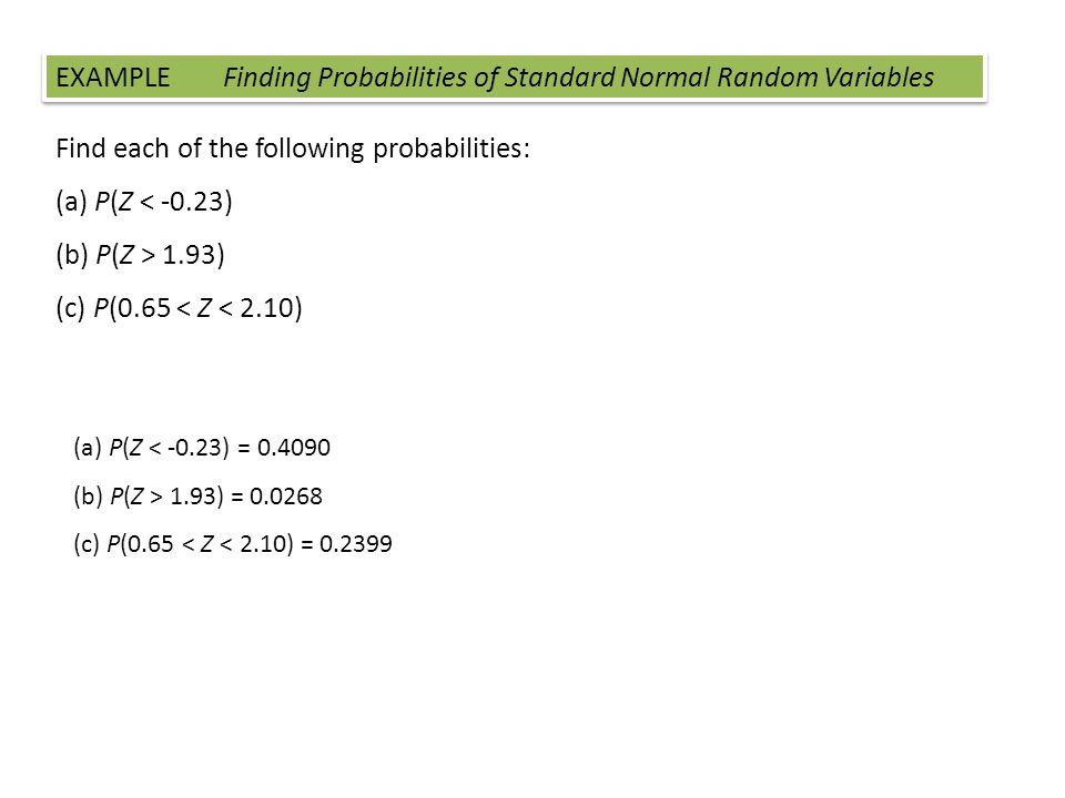 EXAMPLE Finding Probabilities of Standard Normal Random Variables