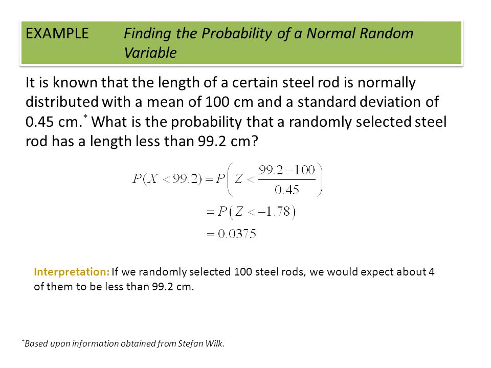 EXAMPLE Finding the Probability of a Normal Random Variable