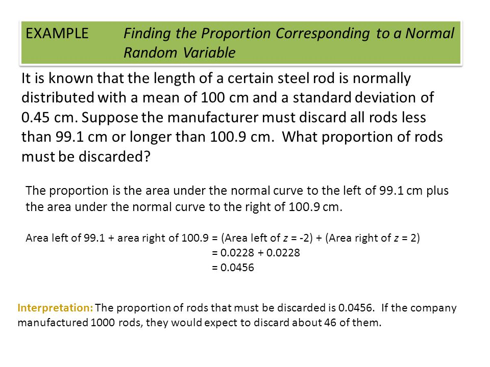 EXAMPLE. Finding the Proportion Corresponding to a Normal