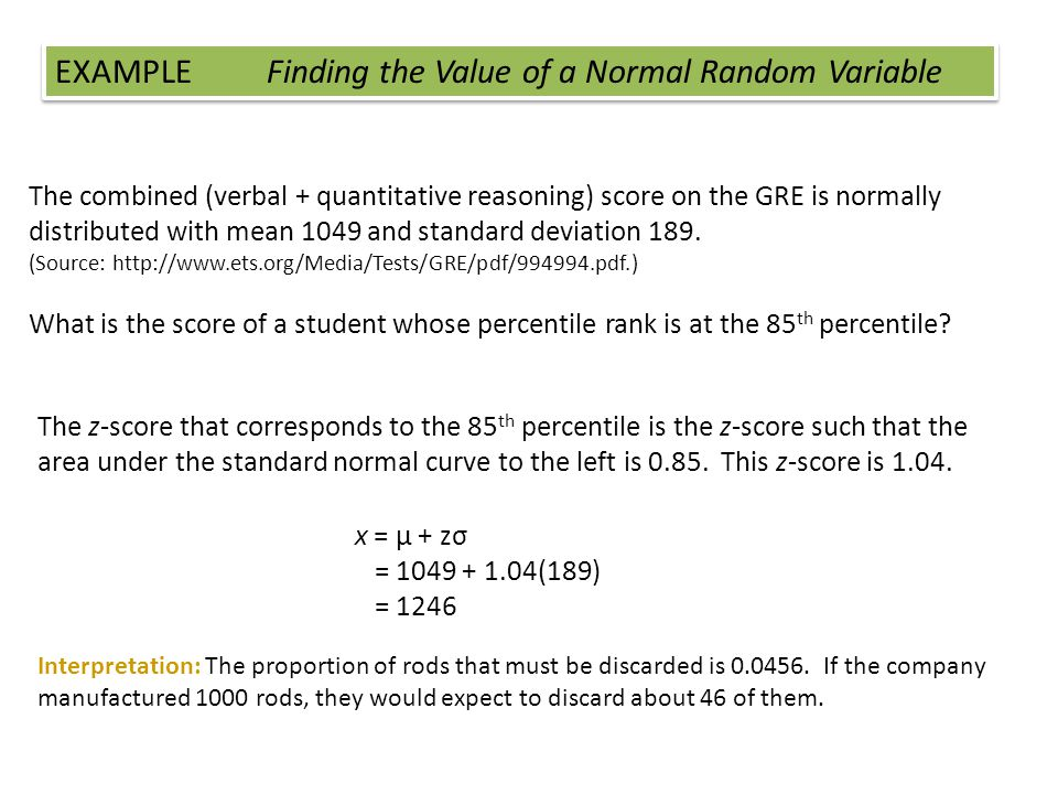 EXAMPLE Finding the Value of a Normal Random Variable