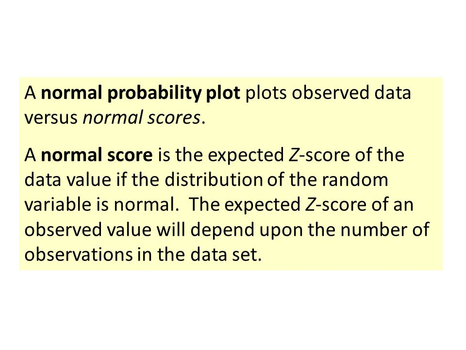 A normal probability plot plots observed data versus normal scores.