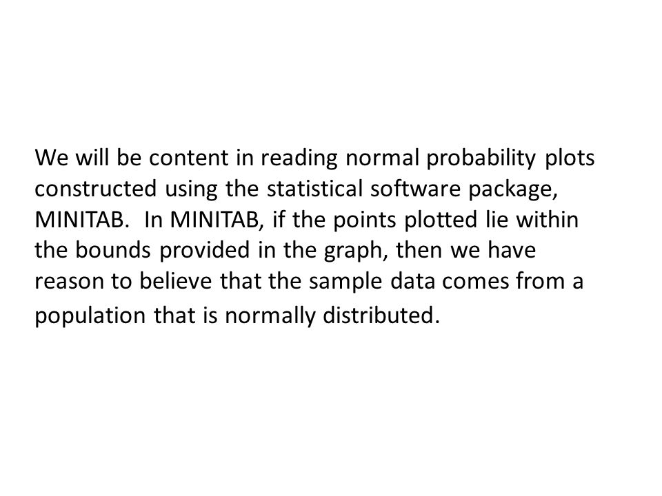 We will be content in reading normal probability plots constructed using the statistical software package, MINITAB.