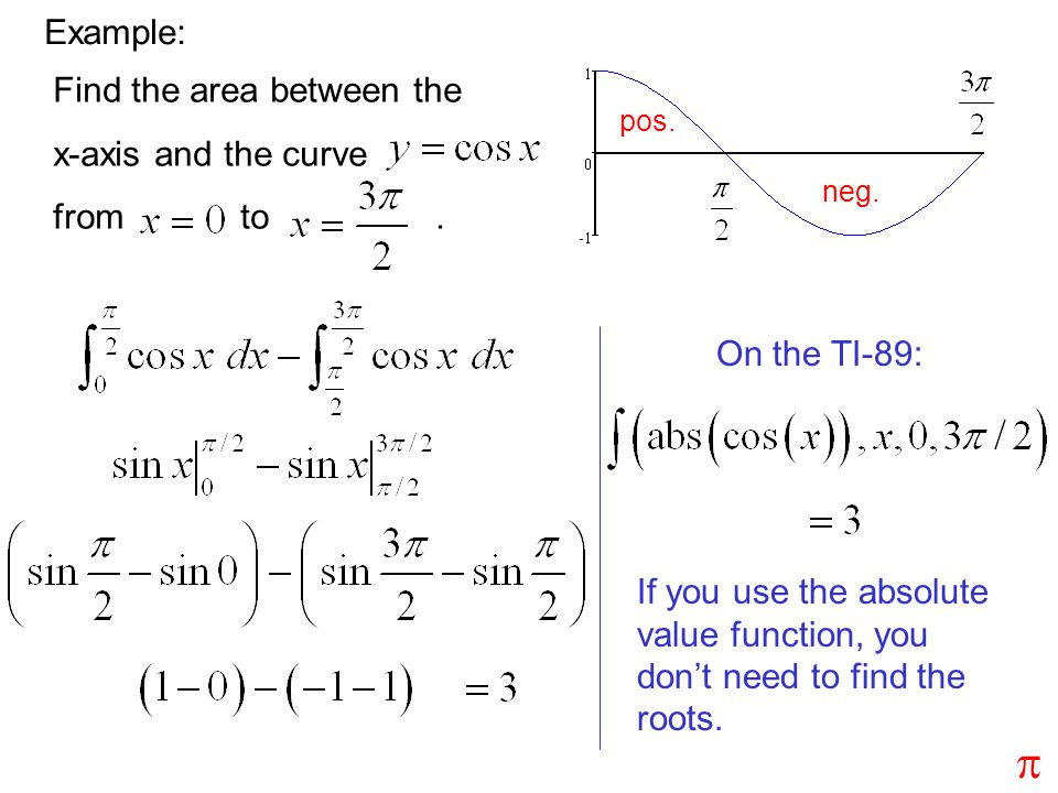 p Example: Find the area between the x-axis and the curve from to .