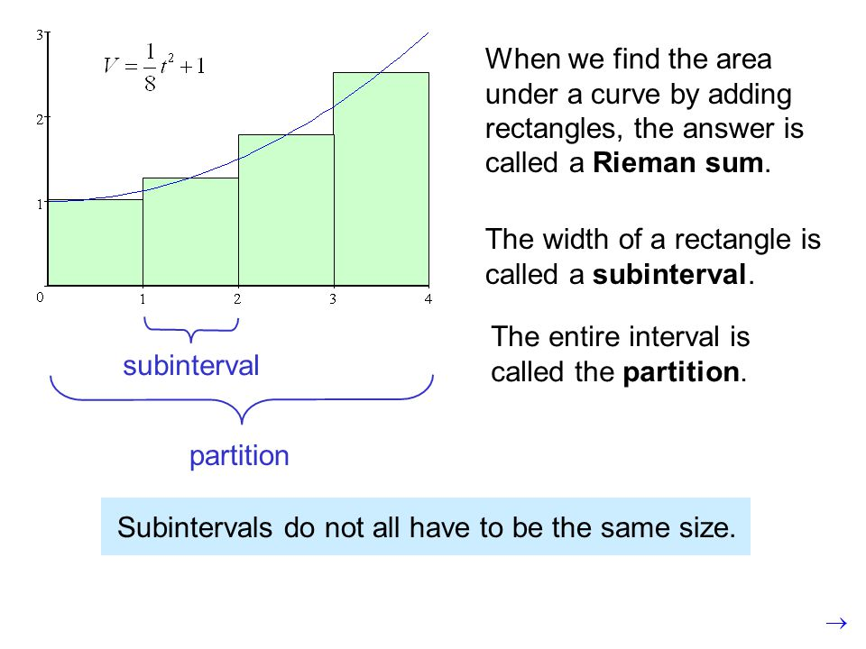 When we find the area under a curve by adding rectangles, the answer is called a Rieman sum.