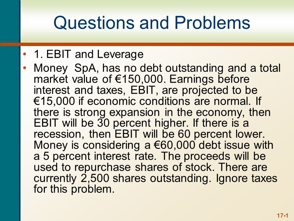 a. Calculate earnings per share, EPS, under each of the three economic scenarios before any debt is issued. Also, calculate the percentage changes in EPS when the economy expands or enters a recession.