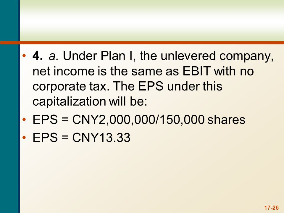 Under Plan II, the levered company, EBIT will be reduced by the interest payment. The interest payment is the amount of debt times the interest rate, so: