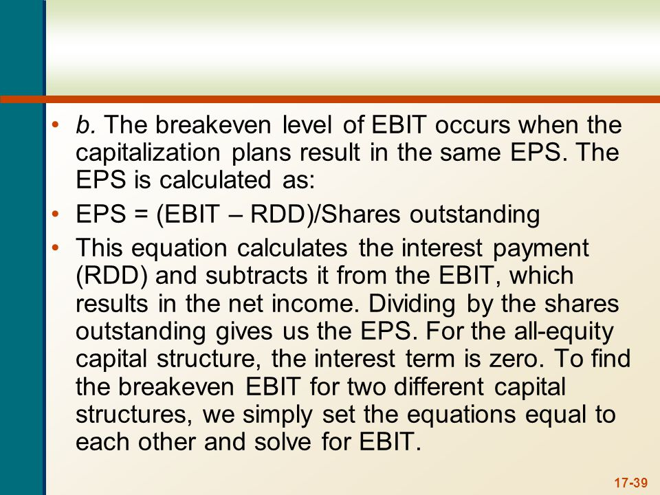 The breakeven EBIT between the all-equity capital structure and Plan I is: