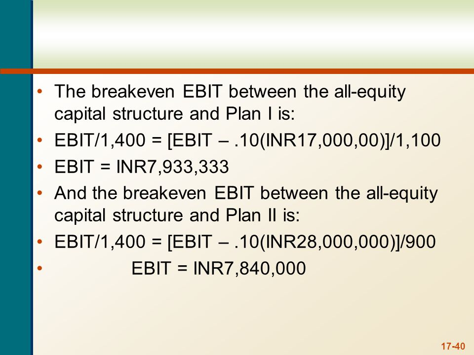 c. Setting the equations for EPS from Plan I and Plan II equal to each other and solving for EBIT, we get: