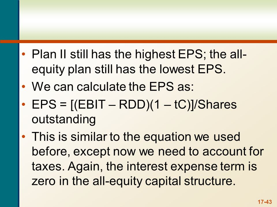 So, the breakeven EBIT between the all-equity plan and Plan I is: