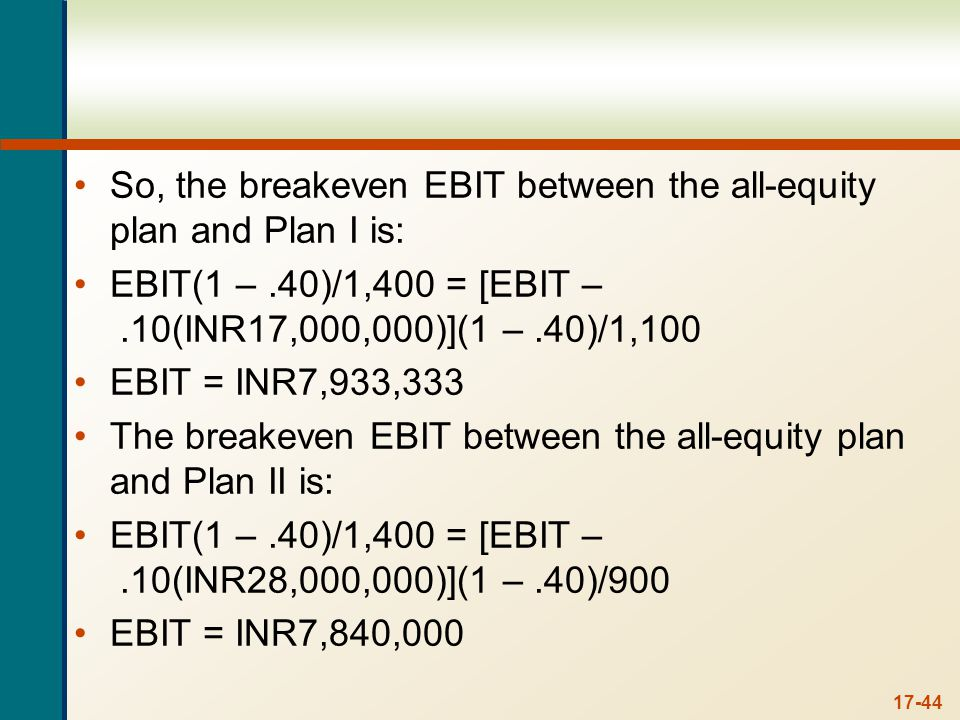 And the breakeven between Plan I and Plan II is: