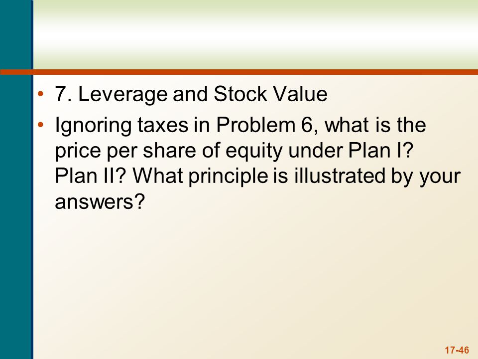7. To find the value per share of the stock under each capitalization plan, we can calculate the price as the value of shares repurchased divided by the number of shares repurchased. So, under Plan I, the value per share is: