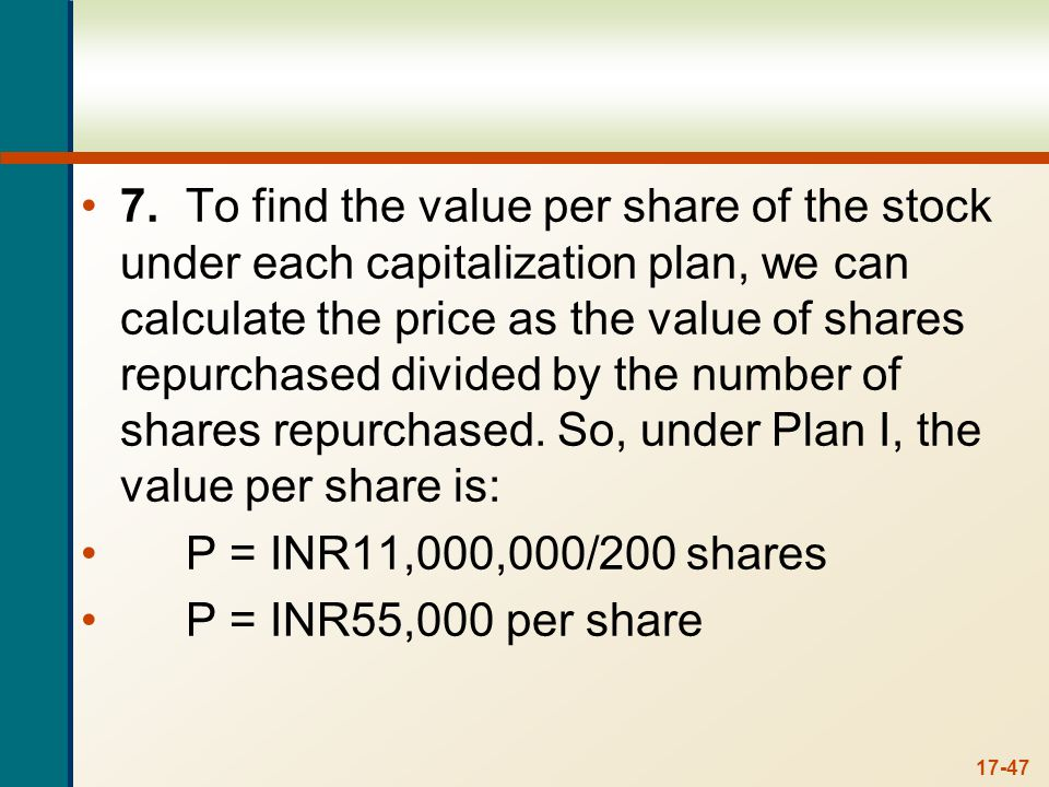 And under Plan II, the value per share is: