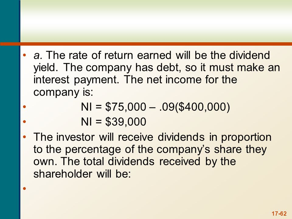 Dividends received = $39,000($30,000/$400,000)
