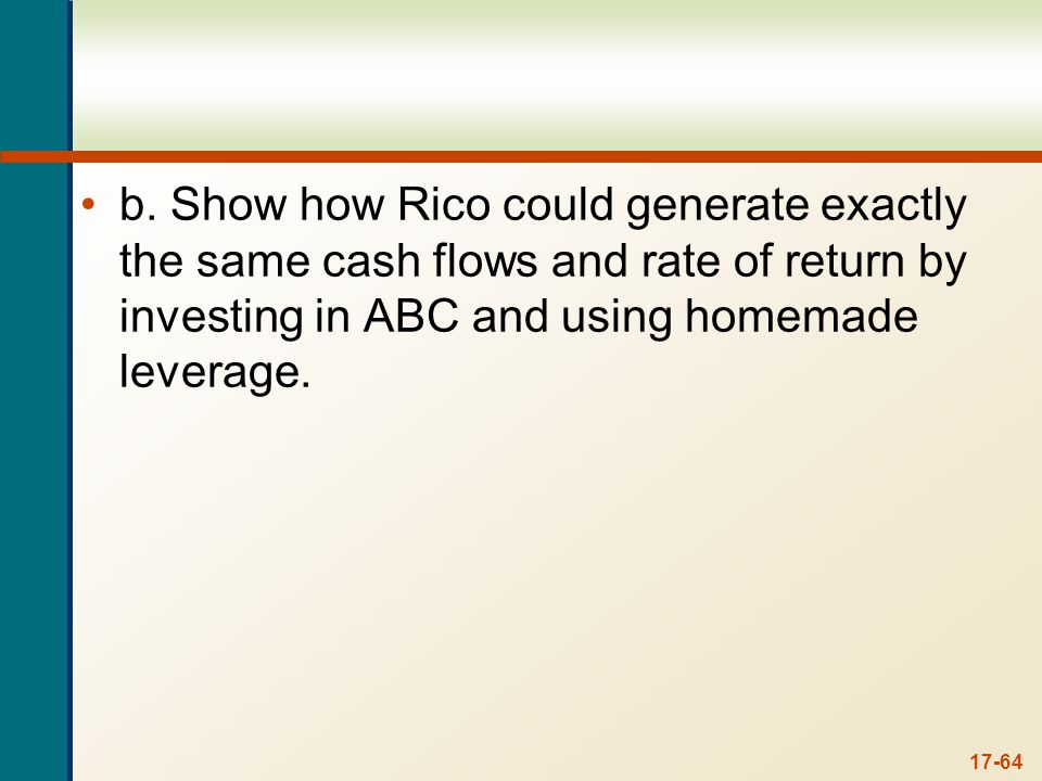 b. To generate exactly the same cash flows in the other company, the shareholder needs to match the capital structure of ABC. The shareholder should sell all shares in XYZ. This will net $30,000. The shareholder should then borrow $30,000. This will create an interest cash flow of: