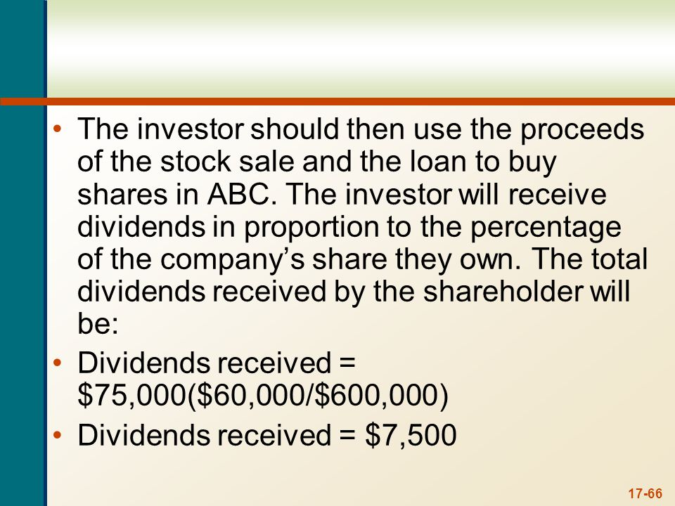 The total cash flow for the shareholder will be: