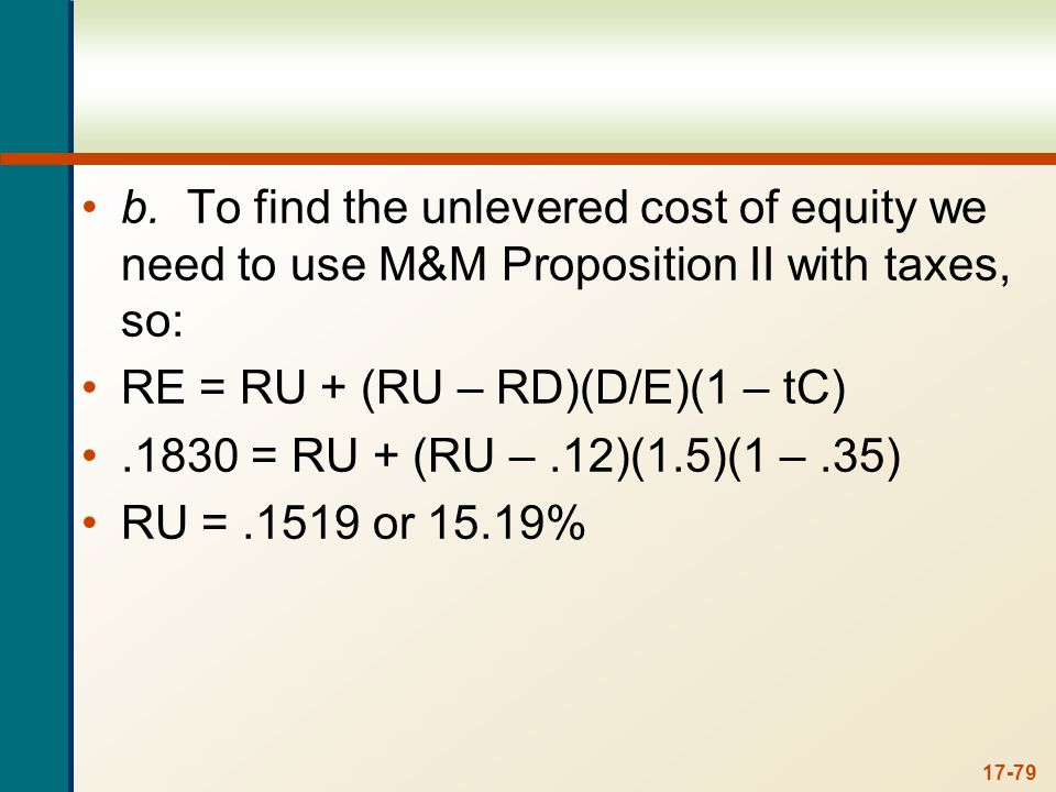 c. To find the cost of equity under different capital structures, we can again use the WACC equation. With a debt-equity ratio of 2, the cost of equity is: