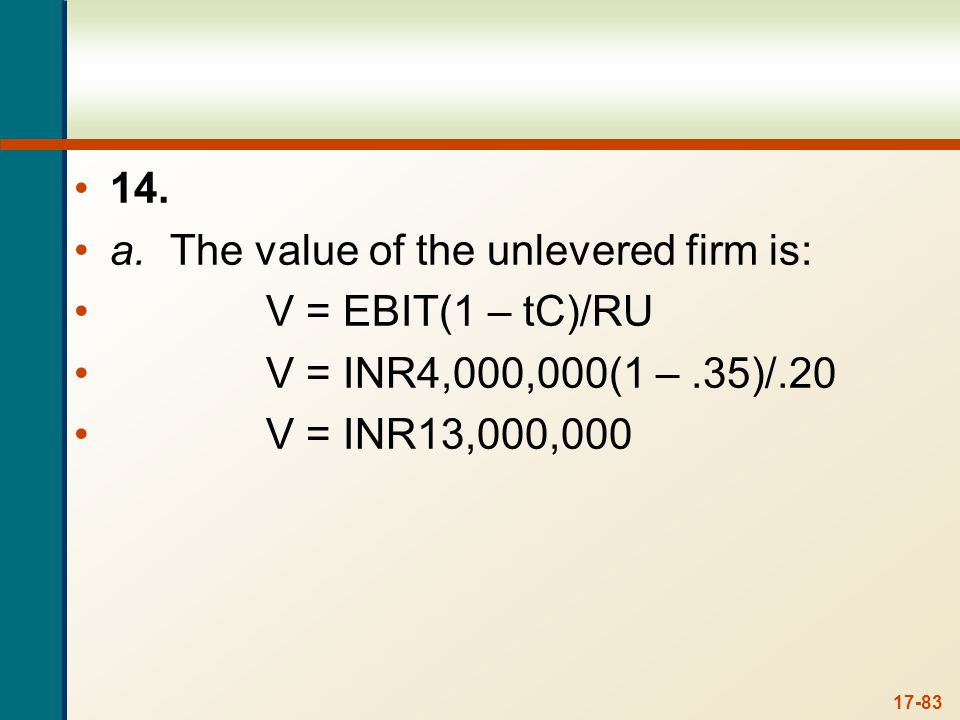 b. The value of the levered firm is: