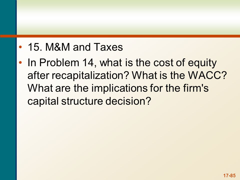 15. We can find the cost of equity using M&M Proposition II with taxes