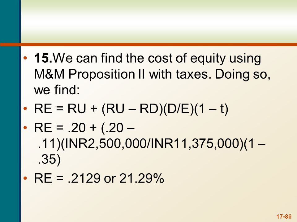 Using this cost of equity, the WACC for the firm after recapitalization is:
