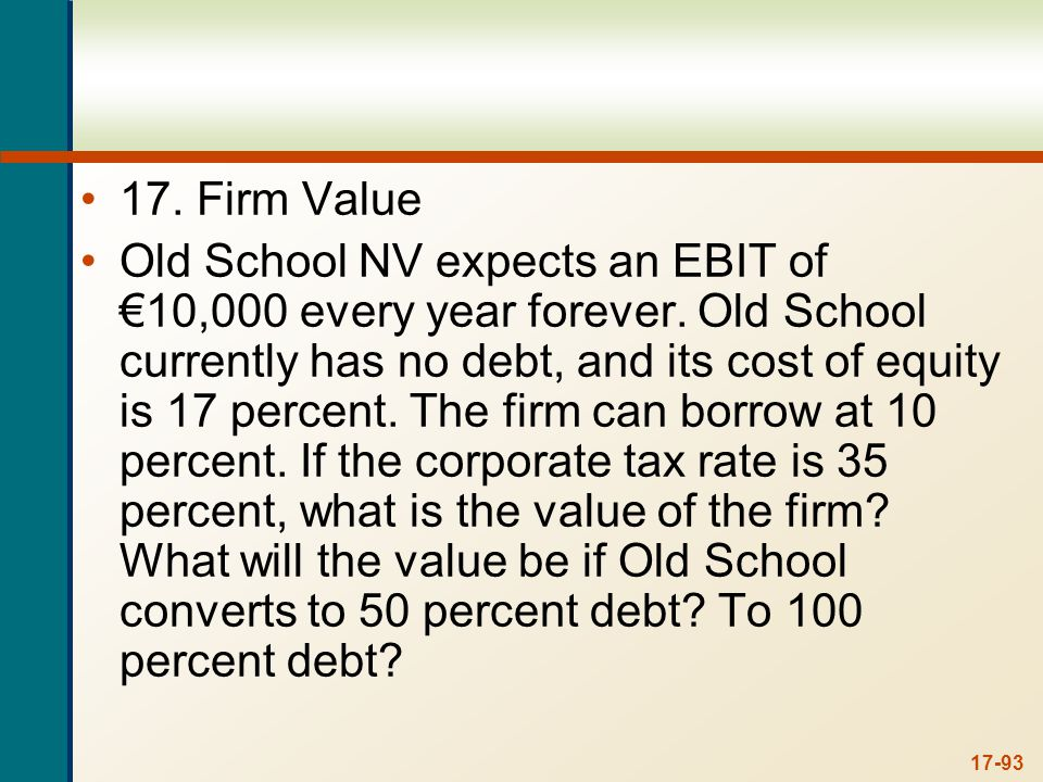 17. With no debt, we are finding the value of an unlevered firm, so: