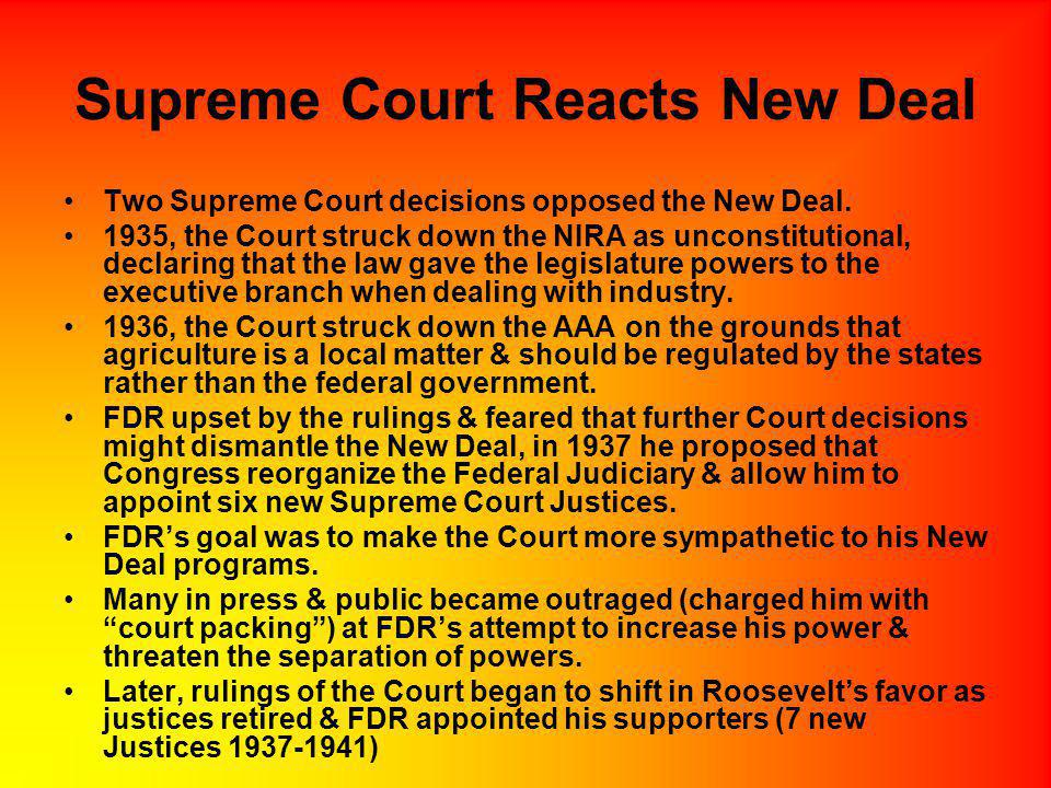 Supreme Court Reacts New Deal
