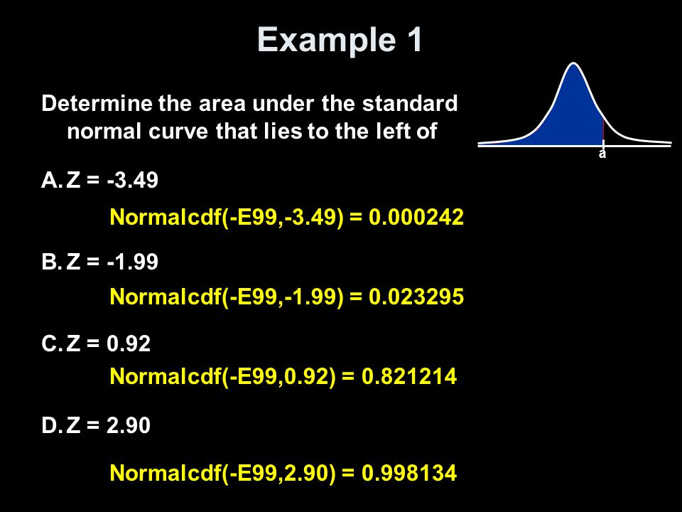 Example 1 a. Determine the area under the standard normal curve that lies to the left of. Z = -3.49.