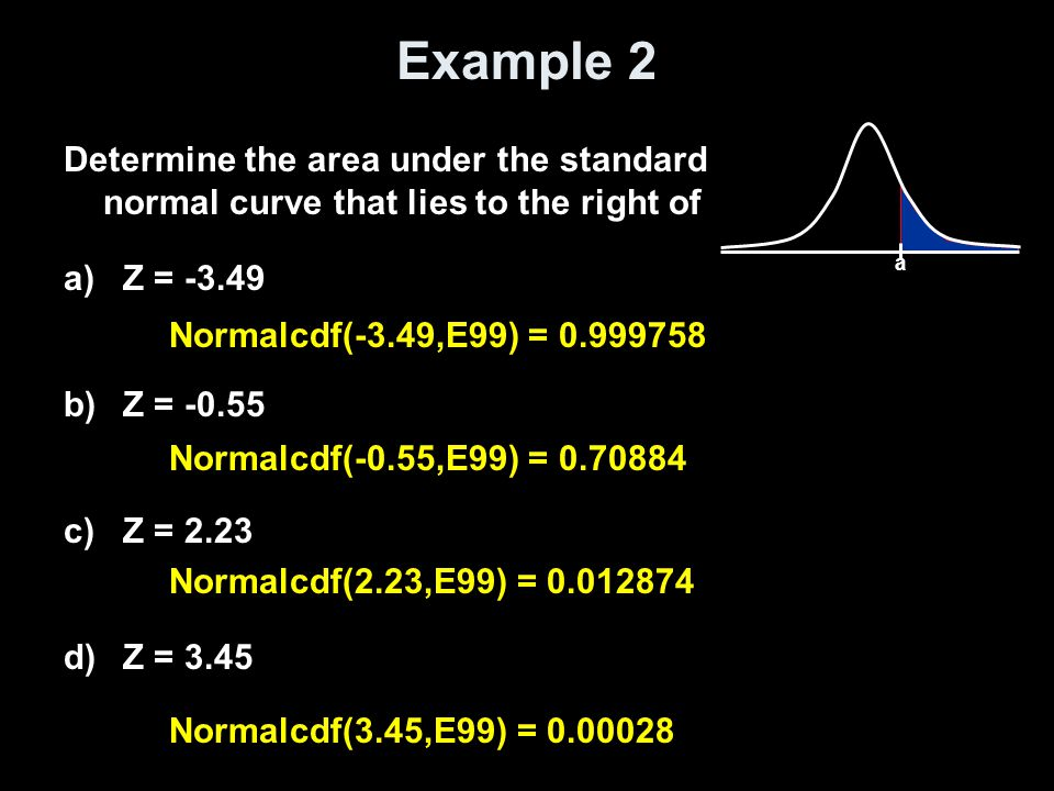 Example 2 a. Determine the area under the standard normal curve that lies to the right of. Z = -3.49.