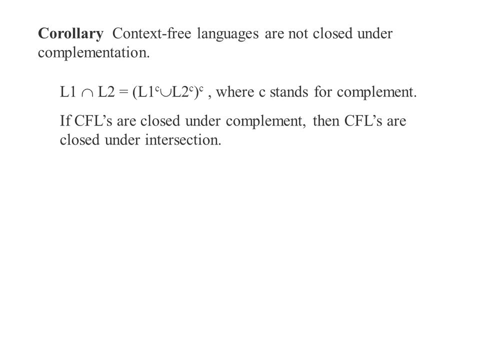 Corollary Context-free languages are not closed under complementation.