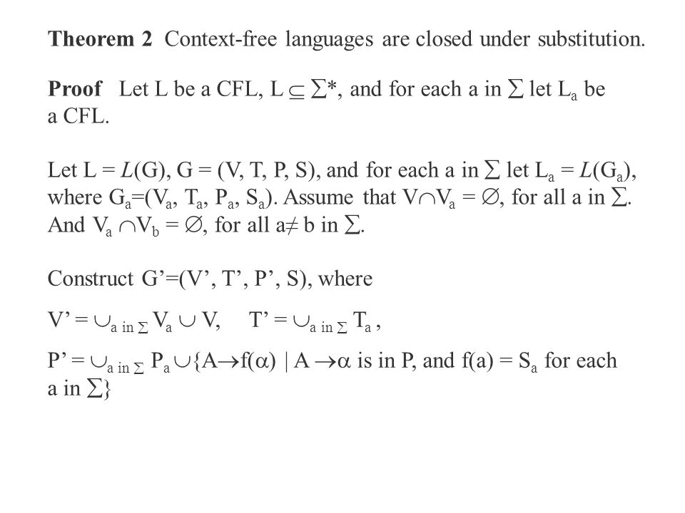 Theorem 2 Context-free languages are closed under substitution.