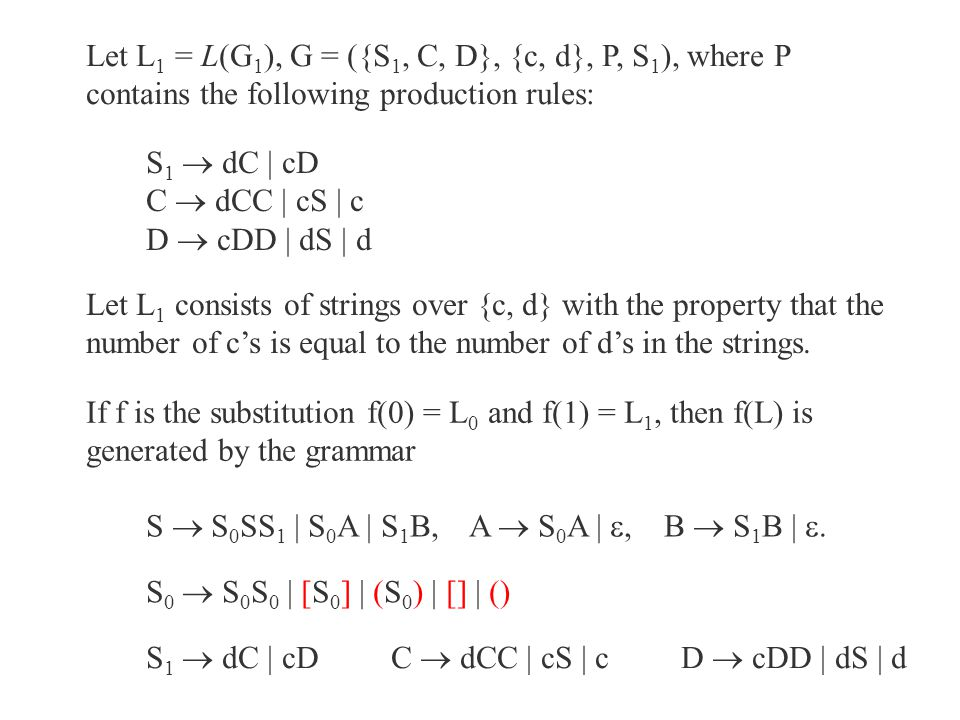 Let L1 = L(G1), G = ({S1, C, D}, {c, d}, P, S1), where P contains the following production rules: