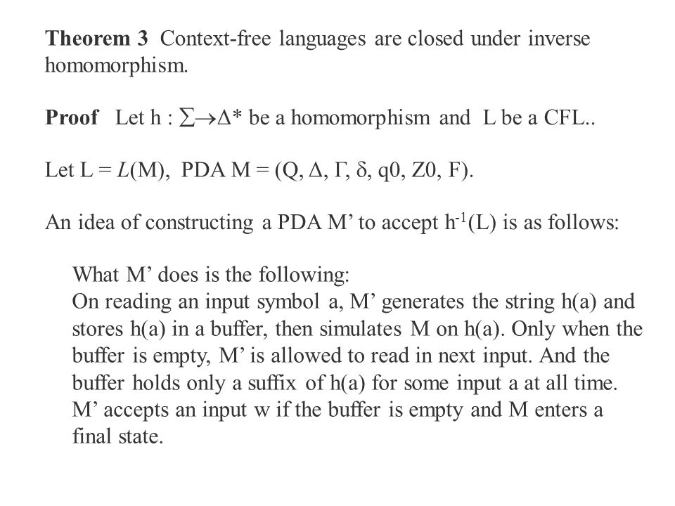 Theorem 3 Context-free languages are closed under inverse homomorphism.